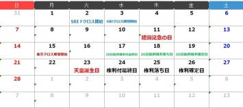 今月のクロス取引(つなぎ売り)カレンダー