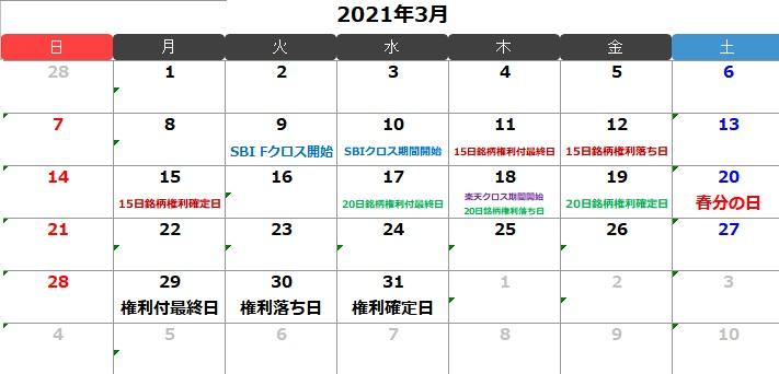2021年3月のクロス取引(つなぎ売り)カレンダー
